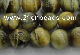 CTE1442 15.5 inches 8mm round golden & blue tiger eye beads