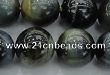 CTE1456 15.5 inches 16mm round golden & blue tiger eye beads