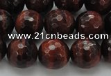 CTE1464 15.5 inches 12mm faceted round red tiger eye beads