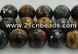 CTE1473 15.5 inches 10mm faceted round mixed tiger eye beads