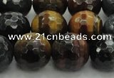 CTE1477 15.5 inches 18mm faceted round mixed tiger eye beads