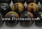 CTE1478 15.5 inches 20mm faceted round mixed tiger eye beads