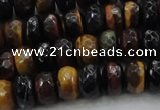 CTE1482 15.5 inches 6*10mm faceted rondelle mixed tiger eye beads
