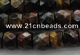 CTE1488 15.5 inches 9*12mm faceted tyre mixed tiger eye beads