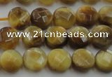 CTE1535 15.5 inches 8mm faceted coin golden tiger eye beads