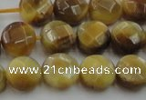 CTE1536 15.5 inches 10mm faceted coin golden tiger eye beads