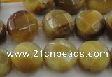CTE1538 15.5 inches 14mm faceted coin golden tiger eye beads