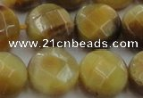 CTE1540 15.5 inches 18mm faceted coin golden tiger eye beads