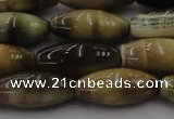 CTE1559 15.5 inches 8*18mm rice golden & blue tiger eye beads wholesale