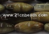 CTE1560 15.5 inches 10*30mm rice golden & blue tiger eye beads wholesale