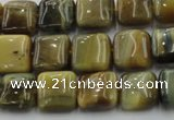 CTE1562 15.5 inches 8*8mm square golden & blue tiger eye beads wholesale