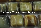 CTE1565 15.5 inches 14*14mm square golden & blue tiger eye beads wholesale