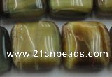 CTE1568 15.5 inches 20*20mm square golden & blue tiger eye beads wholesale