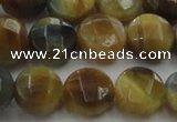 CTE1574 15.5 inches 12mm faceted coin golden & blue tiger eye beads