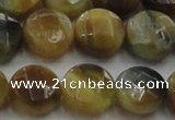 CTE1575 15.5 inches 14mm faceted coin golden & blue tiger eye beads