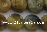 CTE1577 15.5 inches 18mm faceted coin golden & blue tiger eye beads