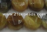 CTE1578 15.5 inches 20mm faceted coin golden & blue tiger eye beads
