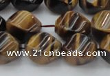 CTE1590 15.5 inches 10*14mm twisted rice yellow tiger eye beads