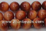 CTE1663 15.5 inches 10mm round sun orange tiger eye beads
