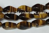 CTE172 15.5 inches 8*16mm twisted rice yellow tiger eye gemstone beads