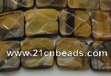 CTE1733 15.5 inches 14*14mm faceted square yellow tiger eye beads