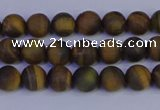 CTE1810 15.5 inches 4mm round matte yellow iron tiger beads
