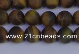 CTE1812 15.5 inches 8mm round matte yellow iron tiger beads