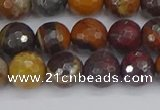 CTE1821 15.5 inches 10mm faceted round red iron tiger beads