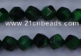CTE1921 15.5 inches 6mm faceted nuggets green tiger eye beads