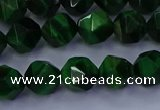 CTE1922 15.5 inches 8mm faceted nuggets green tiger eye beads
