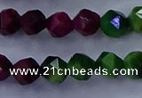 CTE1927 15.5 inches 8mm faceted nuggets colorful tiger eye beads