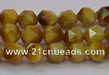 CTE1932 15.5 inches 8mm faceted nuggets golden tiger eye beads