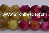 CTE1938 15.5 inches 10mm faceted nuggets mixed tiger eye beads
