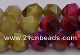 CTE1939 15.5 inches 12mm faceted nuggets mixed tiger eye beads