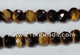 CTE197 15.5 inches 7*12mm faceted rondelle yellow tiger eye gemstone beads