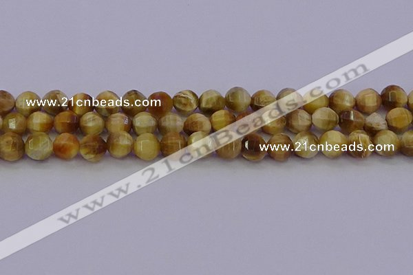 CTE1997 15.5 inches 8mm faceted round golden tiger eye beads
