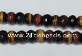 CTE201 15.5 inches 5*8mm faceted rondelle red & yellow tiger eye beads