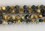 CTE2128 15.5 inches 12mm faceted nuggets golden & blue tiger eye beads