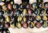 CTE2207 15.5 inches 18mm round mixed tiger eye gemstone beads
