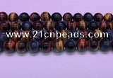 CTE2223 15.5 inches 14mm round colorful tiger eye gemstone beads