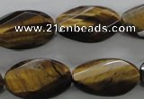 CTE322 15.5 inches 15*25mm twisted & faceted oval yellow tiger eye beads