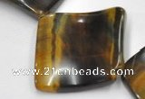 CTE38 15.5 inches 30*30mm twisted square blue tiger eye beads wholesale