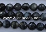CTE443 15.5 inches 10mm faceted round blue tiger eye beads