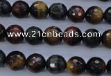 CTE454 15.5 inches 10mm faceted round mixed tiger eye beads