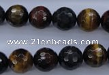 CTE455 15.5 inches 12mm faceted round mixed tiger eye beads