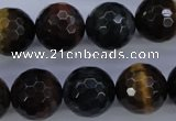 CTE457 15.5 inches 16mm faceted round mixed tiger eye beads