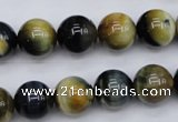 CTE554 15.5 inches 12mm round golden & blue tiger eye beads