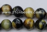 CTE555 15.5 inches 14mm round golden & blue tiger eye beads