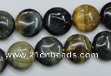 CTE562 15.5 inches 14mm flat round golden & blue tiger eye beads