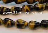 CTE607 15.5 inches 10*14mm teardrop yellow tiger eye beads wholesale